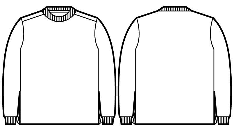 自重堂JAWIN 55304 吸汗速乾長袖ドライTシャツ(胸ポケット無し) ハンガーイラスト・線画