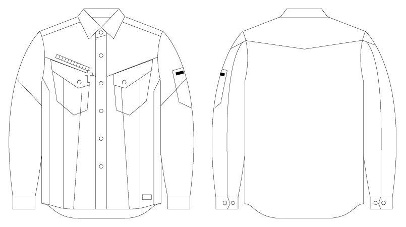 自重堂 56404 [春夏用]JAWIN 長袖シャツ(新庄モデル) ハンガーイラスト・線画