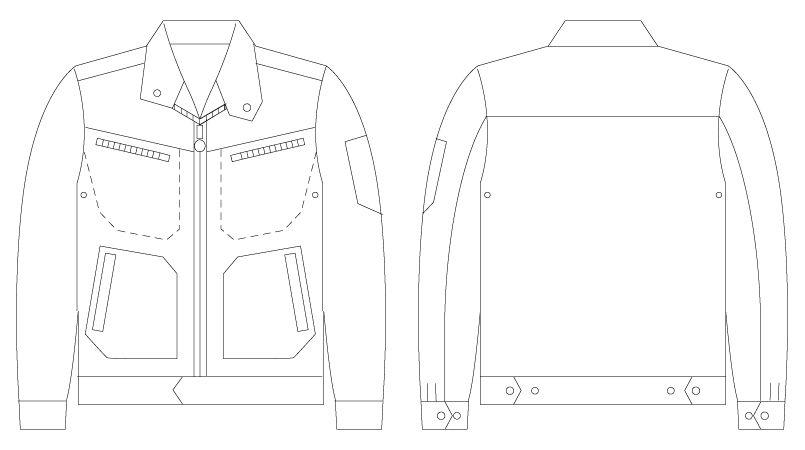 自重堂JAWIN 56500 [春夏用]ストレッチ長袖ジャンパー ハンガーイラスト・線画