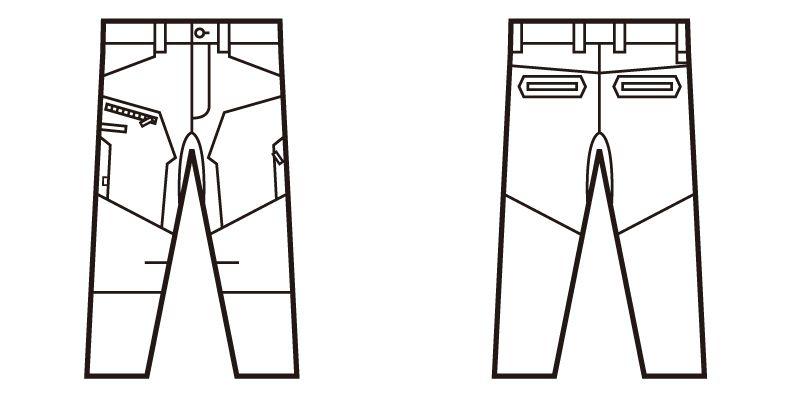 71802 自重堂Z-DRAGON ストレッチノータックカーゴパンツ フルハーネス対応 ハンガーイラスト・線画