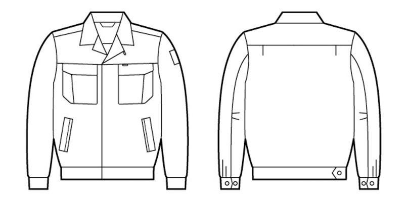 84600 自重堂 [春夏用]綿100%長袖ジャンパー ハンガーイラスト・線画