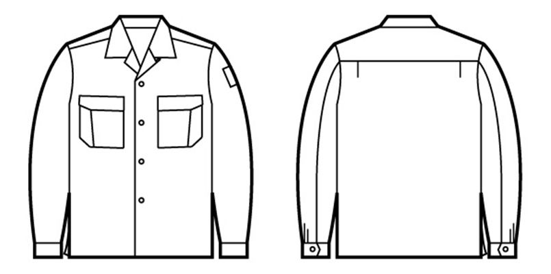 84624 自重堂 綿100%長袖オープンシャツ ハンガーイラスト・線画