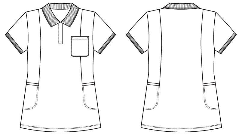 自重堂 WH90338 WHISEL 半袖 ドライポロシャツ(女性用) ハンガーイラスト・線画