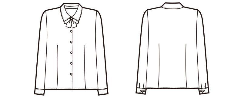 en joie(アンジョア) 01130 シンプルデザインで定番3つの襟を楽しめる長袖ブラウス 無地 ハンガーイラスト・線画
