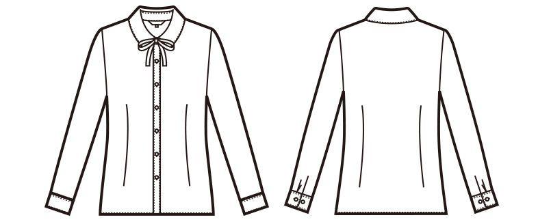 en joie(アンジョア) 01172 [通年]ボウタイ風リボンが大人可愛いベーシックな長袖ブラウス(リボン付) ハンガーイラスト・線画