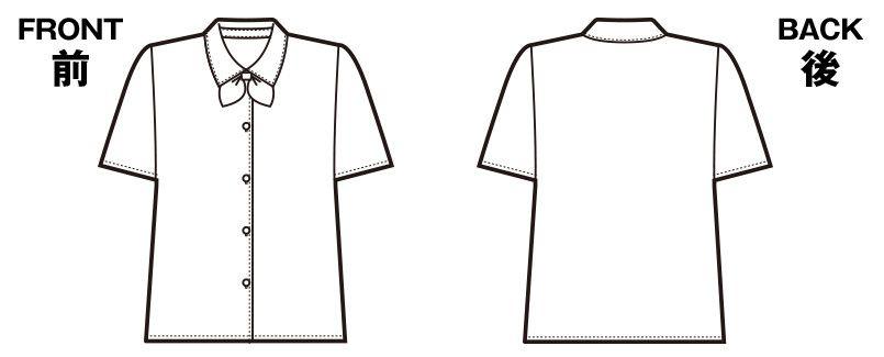 en joie(アンジョア) 06060 [通年]光沢のストライプがシャープで華やかな半袖ブラウス ハンガーイラスト・線画