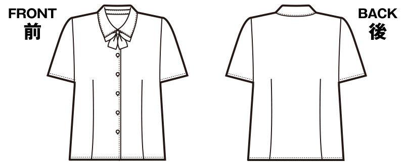 en joie(アンジョア) 06130 [春夏用]シンプルデザインで定番3つの襟を楽しめる半袖ブラウス 無地 ハンガーイラスト・線画
