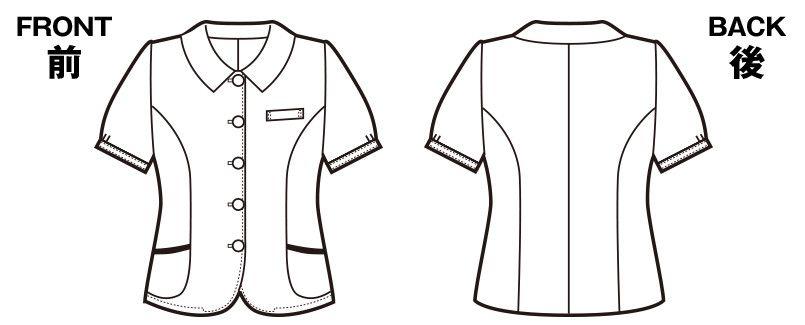 en joie(アンジョア) 26110 ふくらみある綿混素材で快適べたつかないオーバーブラウス チェック ハンガーイラスト・線画
