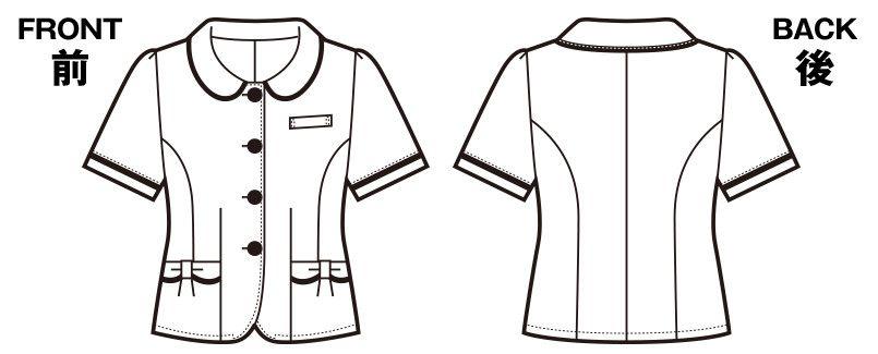 en joie(アンジョア) 26390 丸襟とポケットのリボンがかわいいチェック柄オーバーブラウス ハンガーイラスト・線画