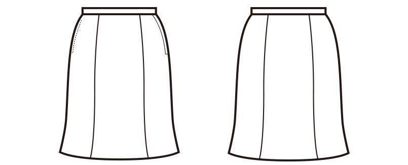 en joie(アンジョア) 51512 軽くてサラサラ快適なニット素材のマーメイドスカート 無地 ハンガーイラスト・線画