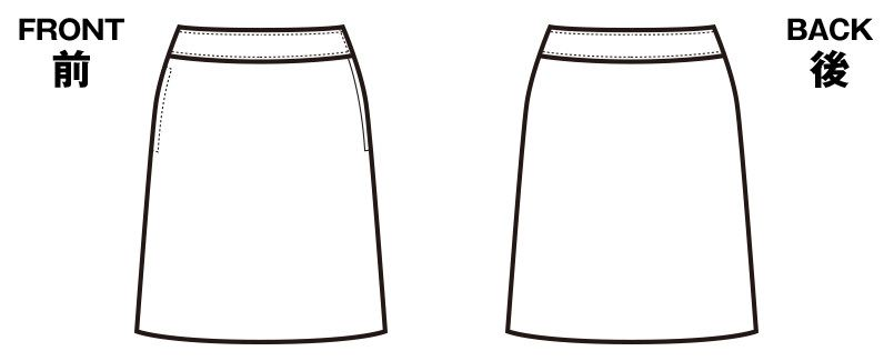 en joie(アンジョア) 56153 [春夏用]きれいなドレープが特徴でストレッチのフレアースカート 無地 ハンガーイラスト・線画