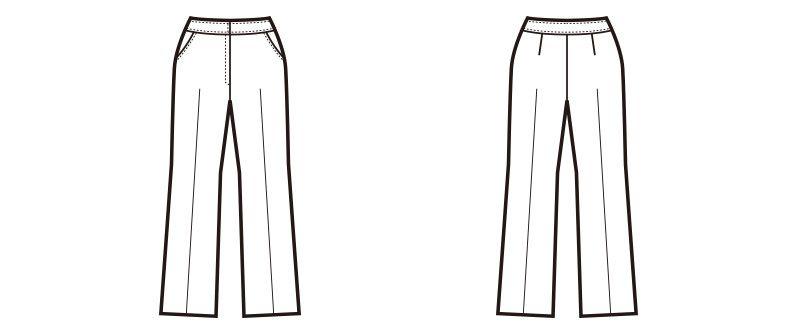 en joie(アンジョア) 71552 [通年]なめらかな風合いでウールタッチな肌触りのブーツカットパンツ 無地[ストレッチ] ハンガーイラスト・線画