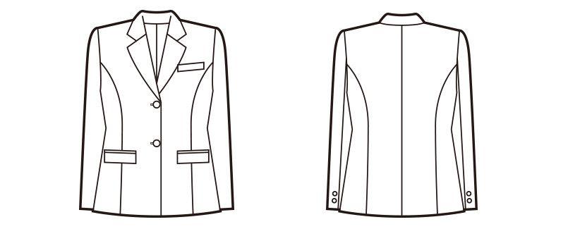 en joie(アンジョア) 81050 [秋冬用]控えめなモノトーンで柔らかいウール混ジャケット 無地 ハンガーイラスト・線画