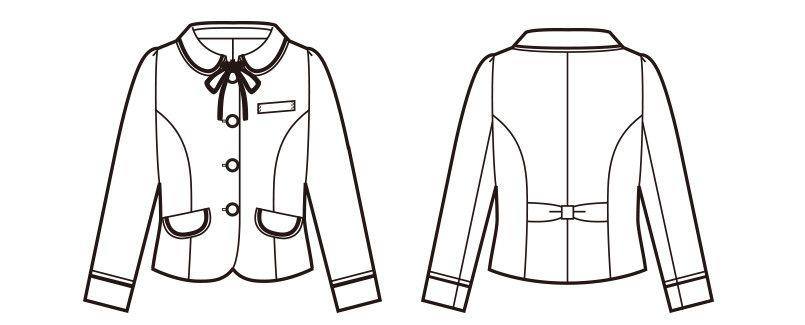 en joie(アンジョア) 81630 [秋冬用]まるいデザイン襟とフラップポケットがかわいいジャケット(リボン付) チェック ハンガーイラスト・線画