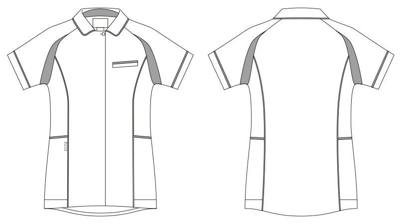 CHM052-0102 アシックス(asics) ナースジャケット(女性用) ハンガーイラスト・線画