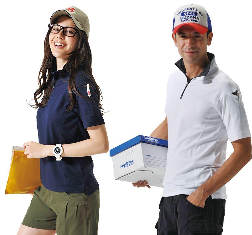 バートル バートル 415 ドライメッシュ半袖ジップシャツ[左袖ポケット付](男女兼用) 11-415 ドライメッシュ半袖ジップシャツ モデル着用雰囲気2