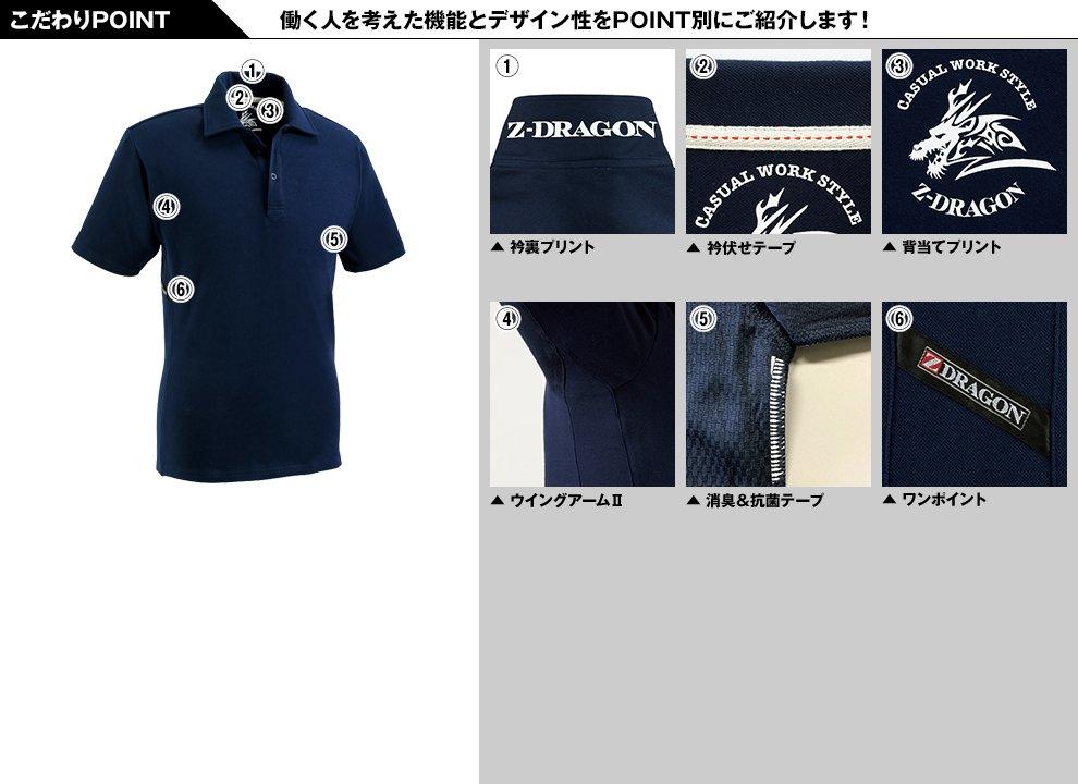 自重堂Z-DRAGON 75114 半袖ポロシャツ(男女兼用)のこだわりPOINT